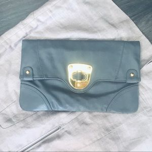 Perfect Gray Clutch with Gold Detail